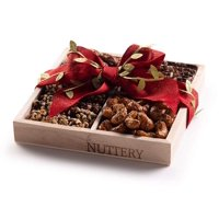 Nuttery Specialty Chocolate & Nuts Classic 4 Section Holiday Gift Tray-Christmas Red Ribbon Mega Gift Basket