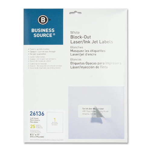 Block-out Full Sheet Laser/Inkjet Label