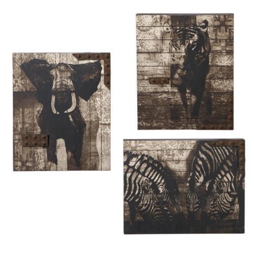 "Set of 3 Modern-Style African Animal Prints Wall Art Decor 15"""