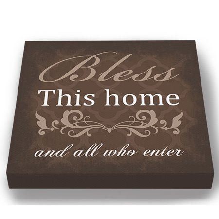 MuralMax Inspirational Quote Wall Decor - Bless This Home & All Who Canvas Art - Gifts For Wedding Anniversary, Bridal Showers, Parents, Grandparents, Office Parties - Color - Brown - Size 10 x 10 ()