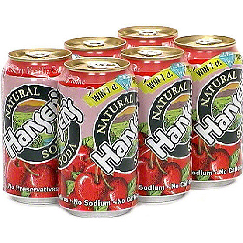 Hansen's Natural Cherry Vanilla Creme Soda, 6ct (Pack of 4)