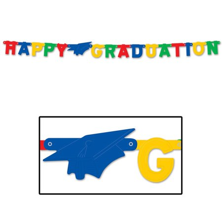 "Club Pack of 12 Multi-Colored ""Happy Graduation"" Large Jointed Party Banners 9"
