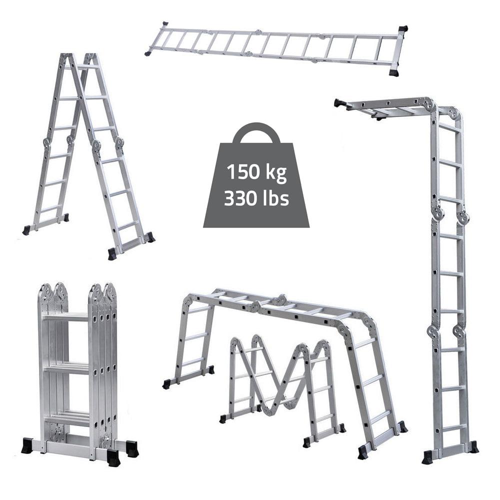 Ktaxon 12.5FT 330LBS Multi Purpose Step Platform Foldable Scaffold Ladder