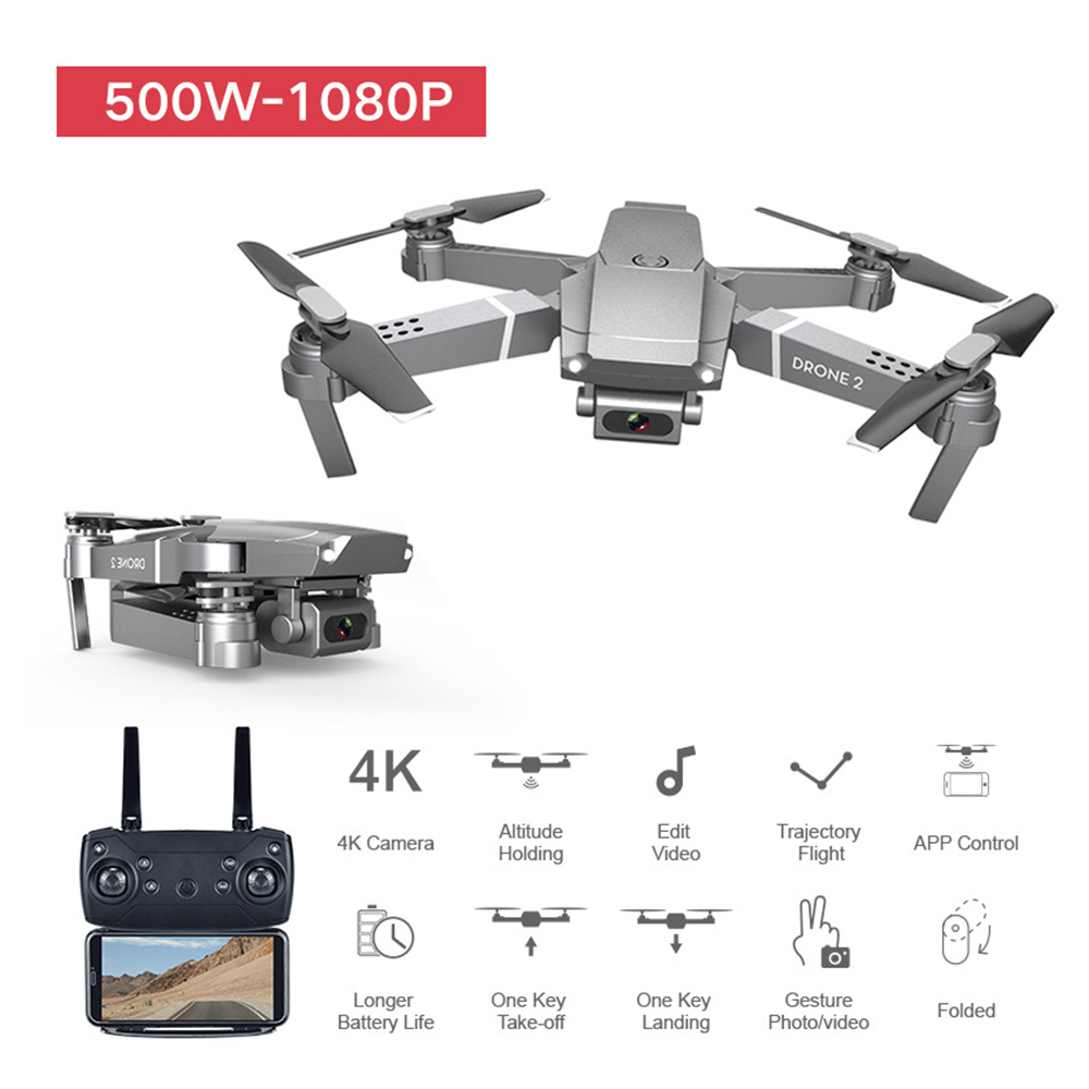 WiFi E68 FPV Drone Quadcopter 1080P HD Camera Wide Angle Foldable Battery 800mAh