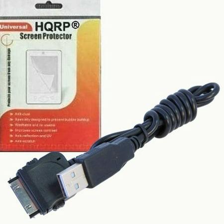 Sansa C100 Series - HQRP USB Cable / Cord compatible with Sandisk Sansa E Series: e250, e260, e280 MP3 / MP4 + HQRP LCD Screen Protector