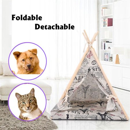 Meigar Portable Pet Teepee Dog Cat Puppy Folding Linen Washable Tent House Mat