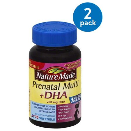 (2 Pack) Nature Made Prenatal Multi + DHA Softgels, 70 (Whats The Best Prenatal Vitamin)