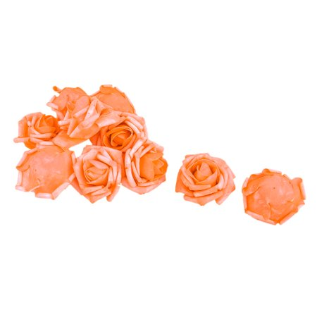 Bride Wedding Foam Artificial Rose Flower Heads DIY Headband Decor Orange 10pcs