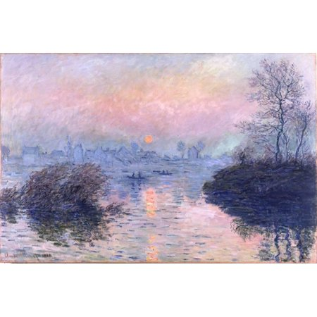 Sunset on the Seine at Lavacourt, Winter Effect Impressionist River Landscape Print Wall Art By Claude Monet Claude Monet Sunset In Venice