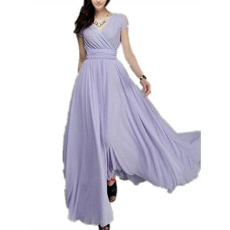 32a13a3dd9 SySea - Summer V-neck Solid Lady Party Chiffon Dress Long Maxi Gowns -  Walmart.com