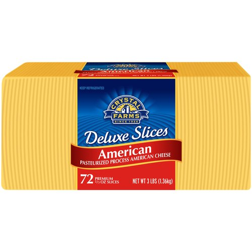 Crystal Farms Deluxe American Cheese Slices, 72 count