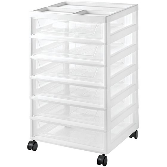 IRIS 6-Drawer Scrapbook Storage Cart, White