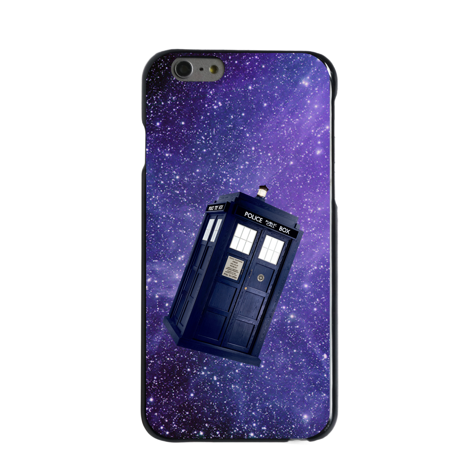 "CUSTOM Black Hard Plastic Snap-On Case for Apple iPhone 6 PLUS / 6S PLUS (5.5"" Screen) - TARDIS Floating in Space"