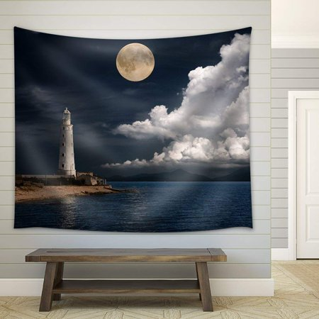 wall26 - Lighthouse at Night - Fabric Wall Tapestry Home Decor - 51x60 inches