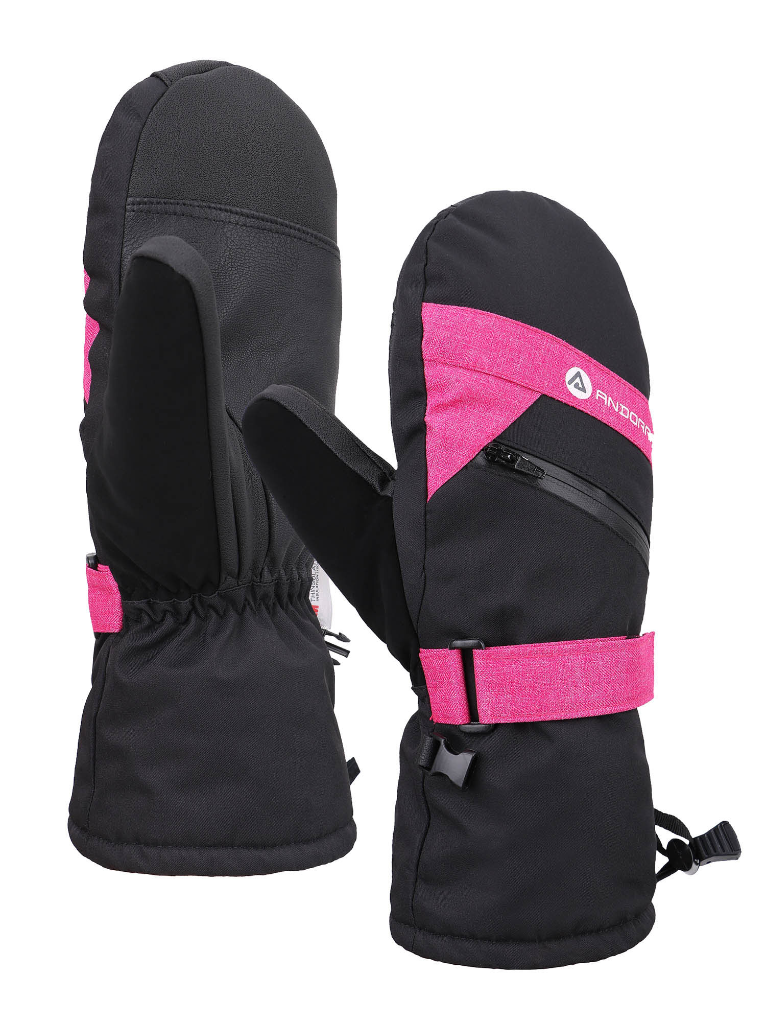 Women's C100 3M Thinsulate Touchscreen Ski Snowboarding Mittens, Pink/Black, M/L
