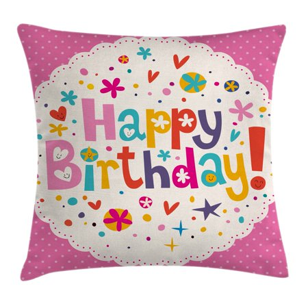 Birthday Decorations Throw Pillow Cushion Cover, Lovely Retro Greeting Card Inspired Design Hearts Smiles Flowers Dots, Decorative Square Accent Pillow Case, 18 X 18 Inches, Multicolor, by Ambesonne](Inspiring Smiles)