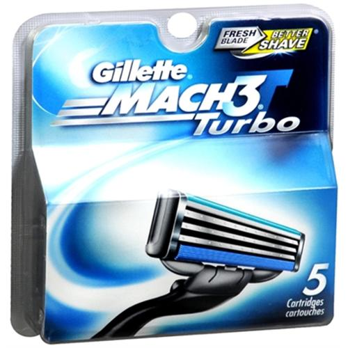 Gillette MACH3 Turbo Cartridges 5 Each (Pack of 3)