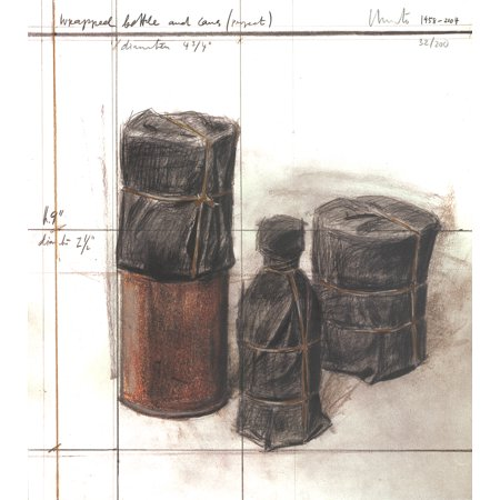 Bottle Signed - Javacheff Christo-Wrapped Bottle and Cans (project)-2004 Lithograph-SIGNED