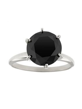 3ct Treated Black Diamond Solitaire Engagement Ring 14K White Gold