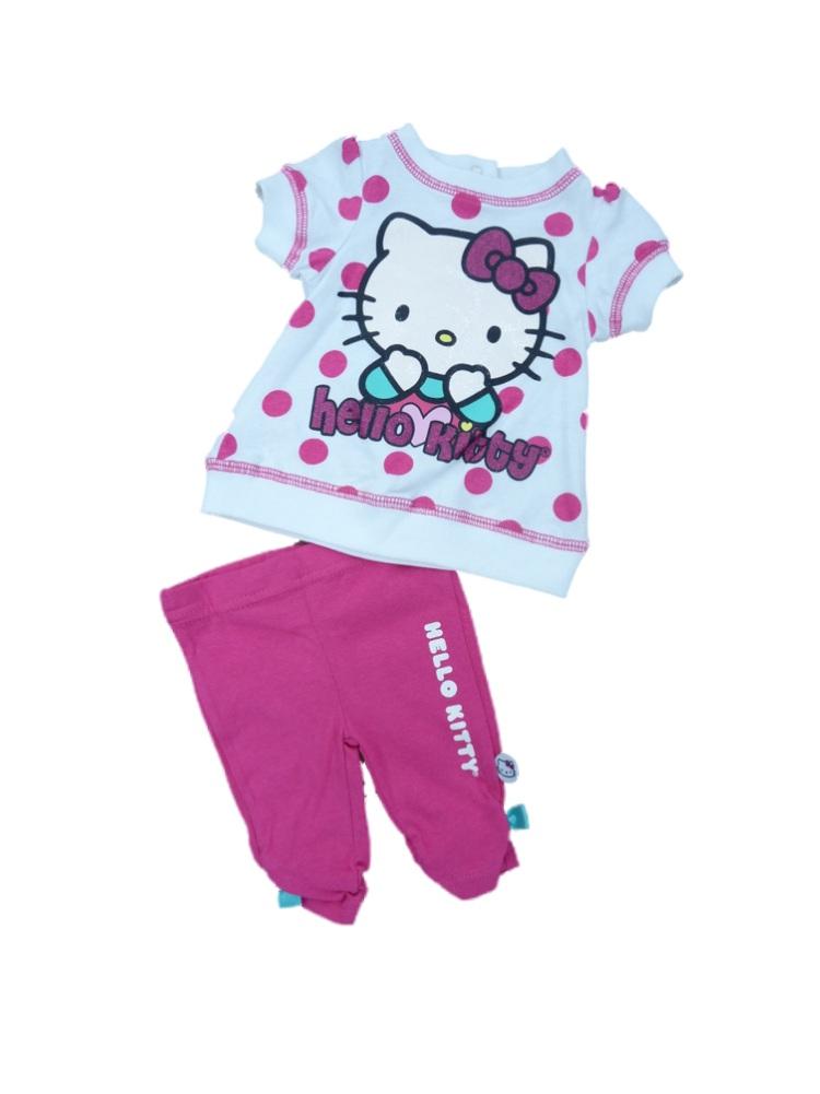 Hello Kitty Infant Girls White & Pink Polka Dot 2 Piece Capri Legging Outfit 3-6