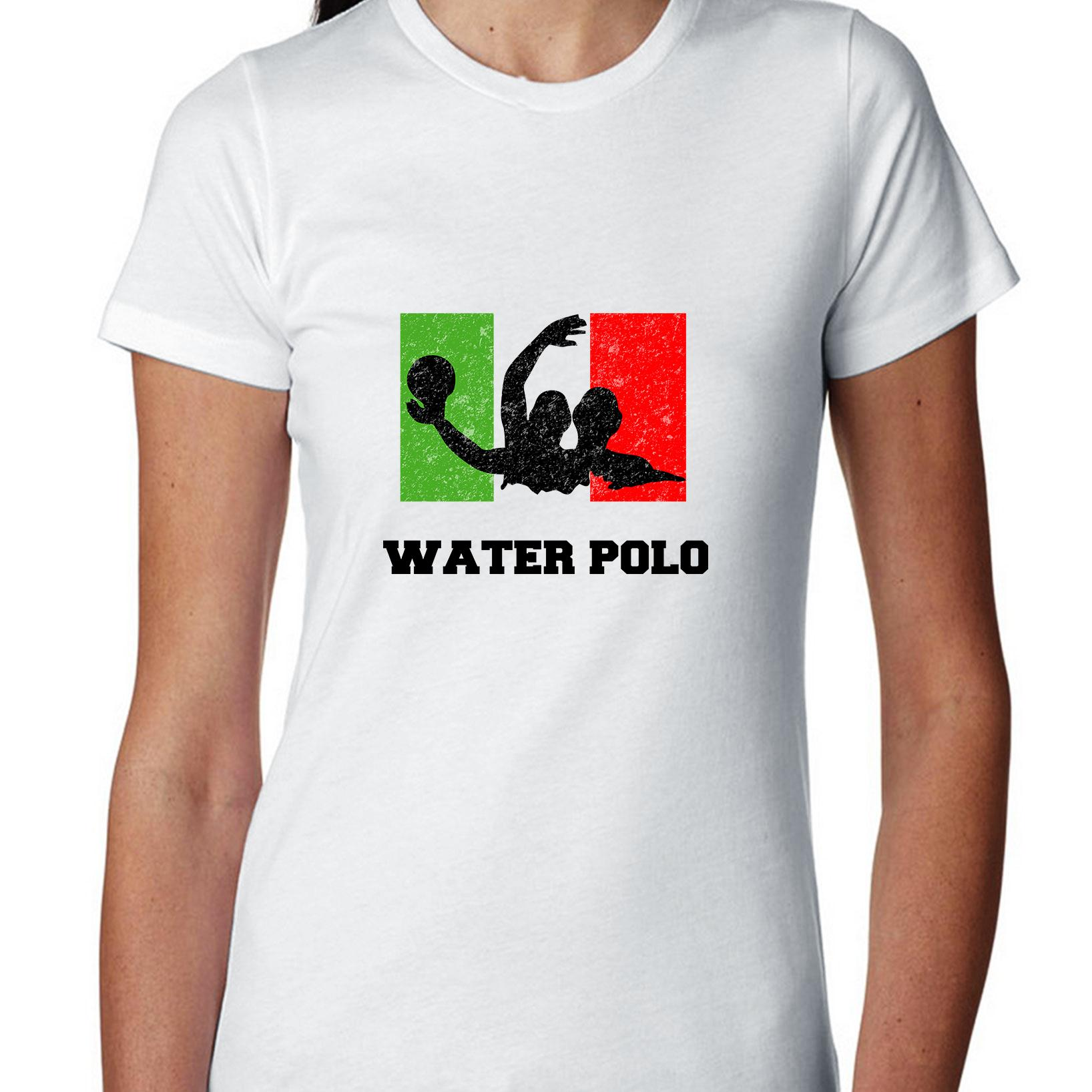 Italy Olympic Water Polo Flag Silhouette Women's Cotton T-Shirt by Hollywood Thread