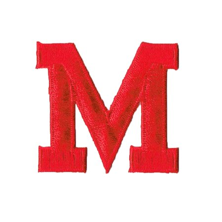 """Alphabet Letter - M - Color Red - 2"""" Block Style - Iron On Embroidered Applique Patch"""