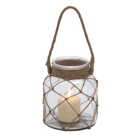 Jute Rope Netted Glass Jar Candle Lantern With A Sturdy Rope - Glass Jar Halloween Lanterns
