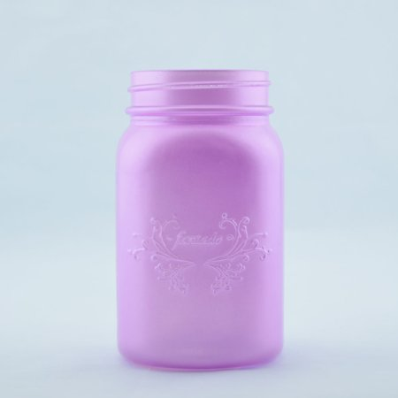 1 Pint Kit - Fantado Regular Mouth Frosted Lavender Mason Jar w/ Handle, 16oz / 1 Pint by PaperLanternStore