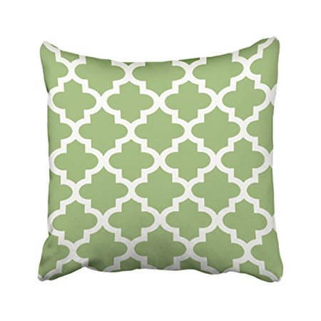 WinHome Decorative Olive Green and White Moroccan Quatrefoil Pattern Throw Pillow Case Decorative Cushion Covers Home Sofa Size 20x20 inches Two Side ()