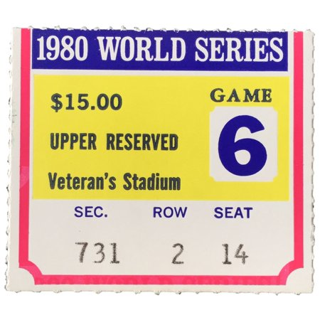 1980 World Series Game 6 Upper 700 Section Ticket Stub Phillies Vs Royals