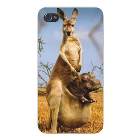 - Apple Iphone Custom Case 4 4s Snap on - Funny Picture Kangaroo w/ Hippo in Pouch