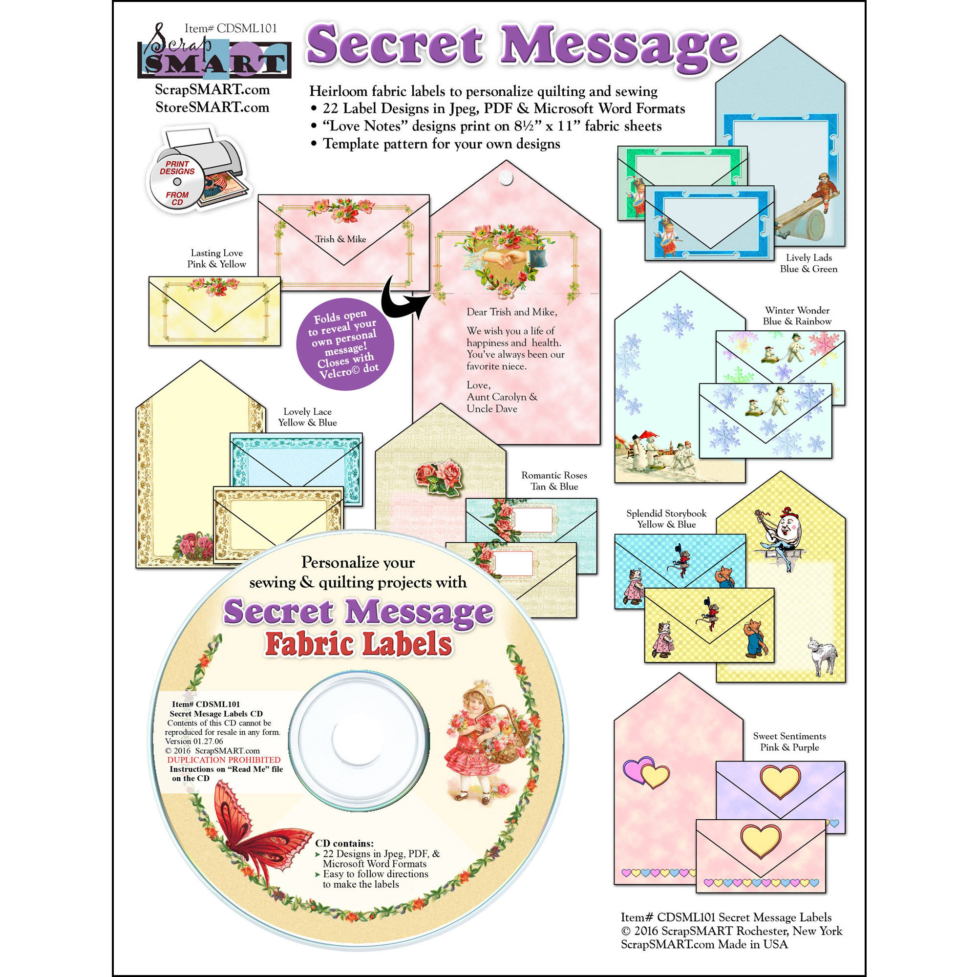 ScrapSMART Secret Message Fabric Labels CD-ROM: Label Designs, Patterns and Instructions
