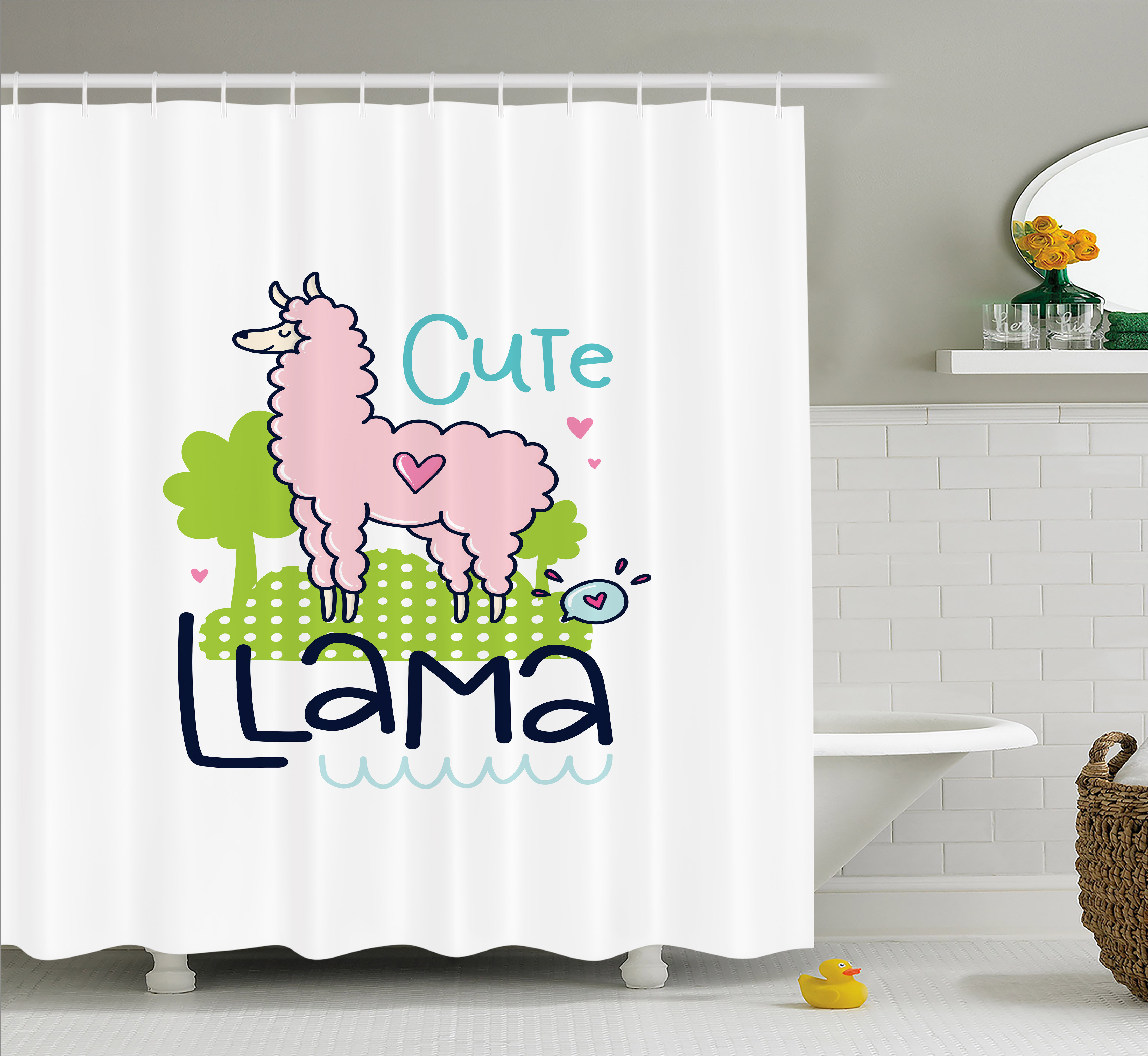 Llama Shower Curtain Cute Pattern With Abstract Color Palette Cartoon Character Design Pink Animal Fabric Bathroom Set Hooks 69W X 75L Inches