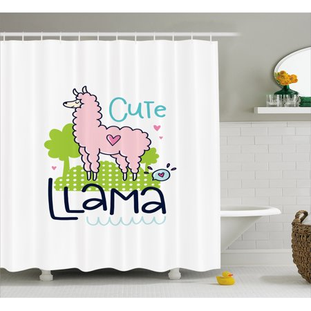 Llama Shower Curtain Cute Pattern With Abstract Color Palette Cartoon Character Design Pink Animal
