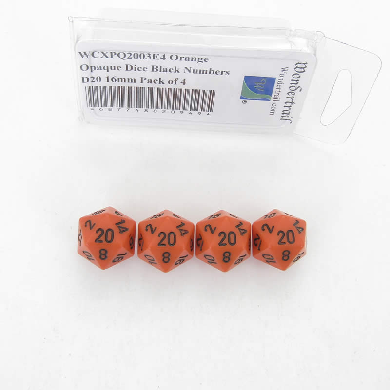 Orange Opaque Dice with Black Numbers D20 Aprox 16mm (5/8in) Pack of 4 Wondertrail