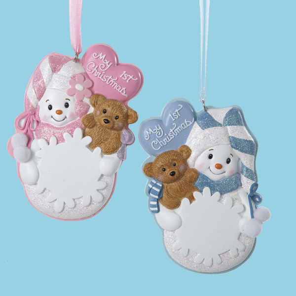 "12 Pink or Blue Snowman ""My 1st Christmas"" Ornaments for Personalization 4.5"""