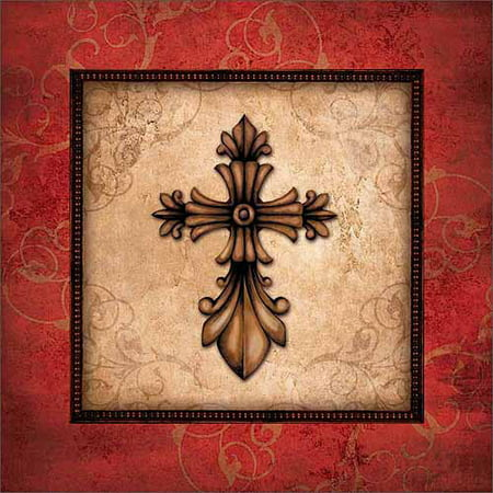 Traditional Ornate Cross Scroll Border Distressed Religious Painting Red & Tan Canvas Art by Pied Piper Creative