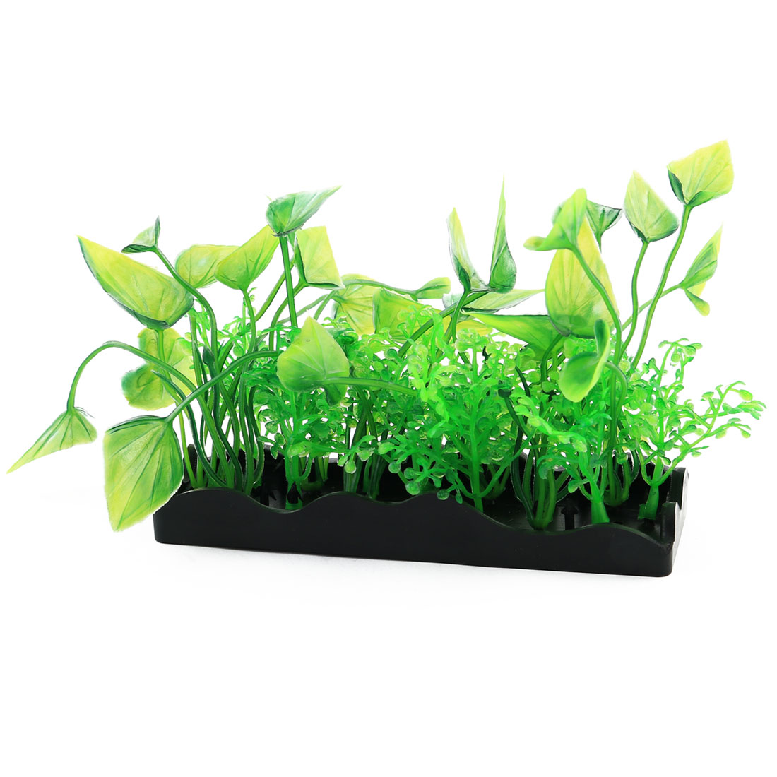 Unique BargainsFish Tank Plastic Artificial Plant Grass Ornament Decor Landspace Green Black