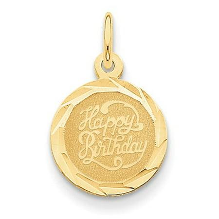 - 14k Yellow Gold Engravable Happy Birthday Disc Pendant