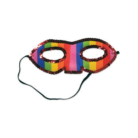 Sequined Rainbow Half Mask Venetian Style Mardi Gras Mask Costume Accessory - Venetian Half Mask