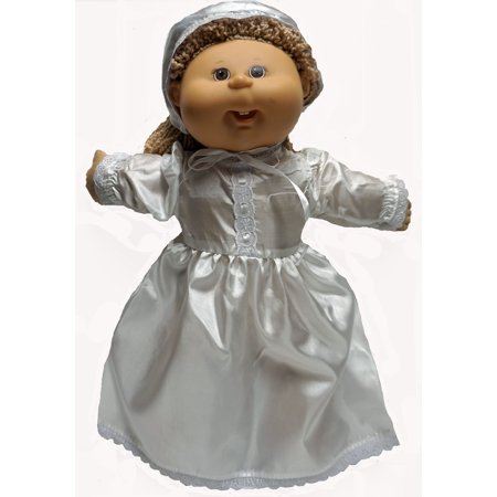 Christening Dress With Hat Fits Cabbage Patch Kid And Baby Dolls - Christening Hat