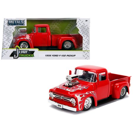 1956 Ford F-100 Pickup Truck with Blower Glossy Red with Flames \Just Trucks\