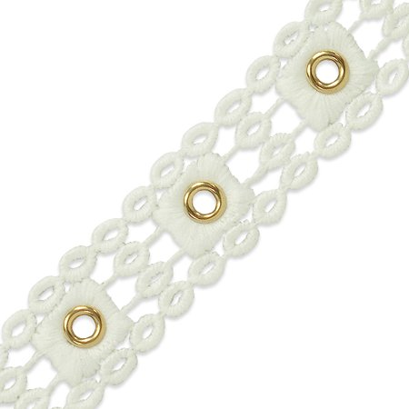 (Expo 5 Yards of Michelle Bond Brass Eyelet Lace Trim 1