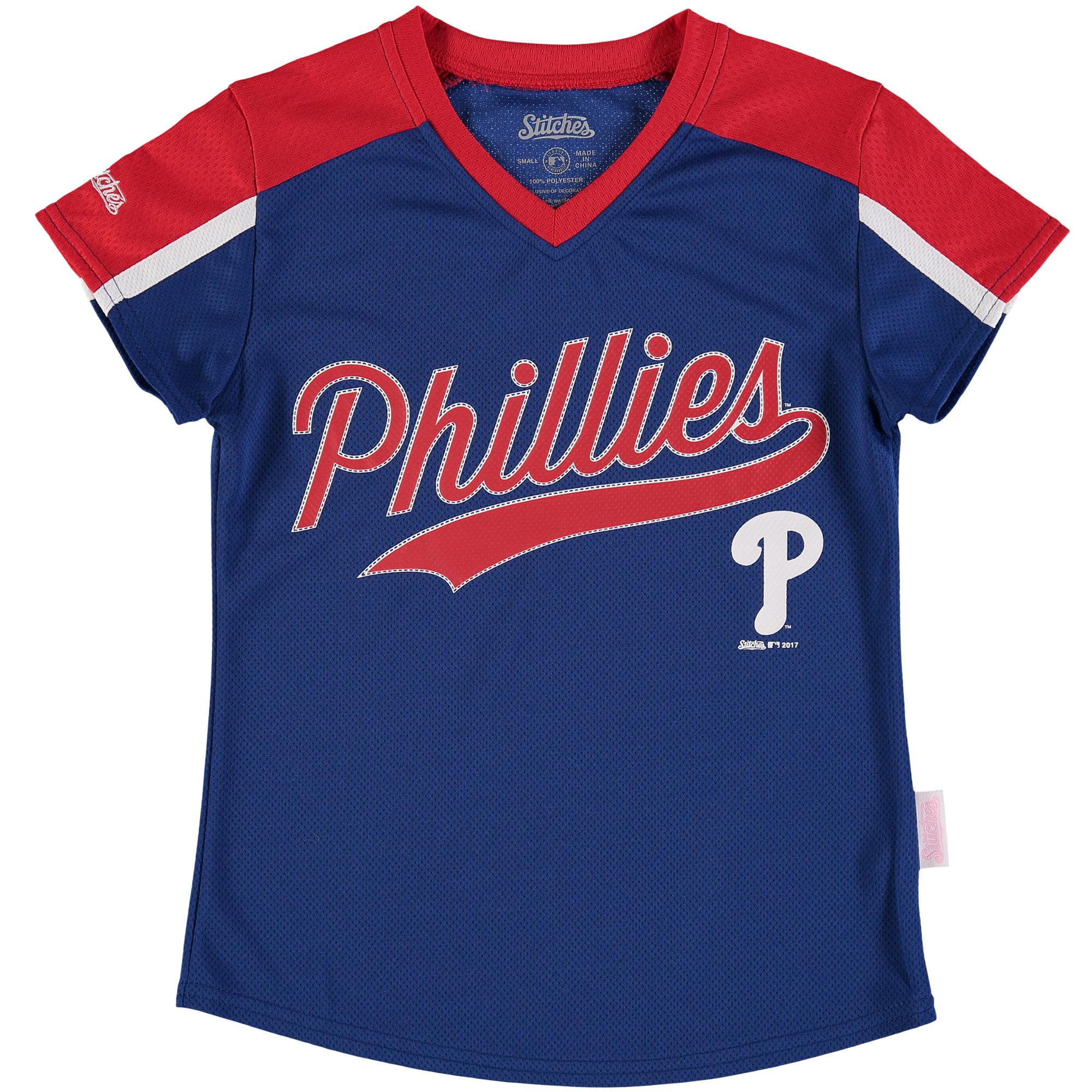 Girls Youth Stitches Royal/Red Philadelphia Phillies V-Neck Jersey T-Shirt