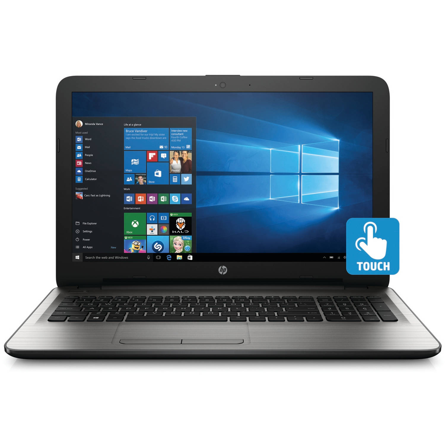 "HP 15-ay041wm 15.6"" Silver Fusion Laptop, Touch Screen, Windows 10, Intel Core i3-6100U Processor, 8GB Memory, 1TB Hard Drive"