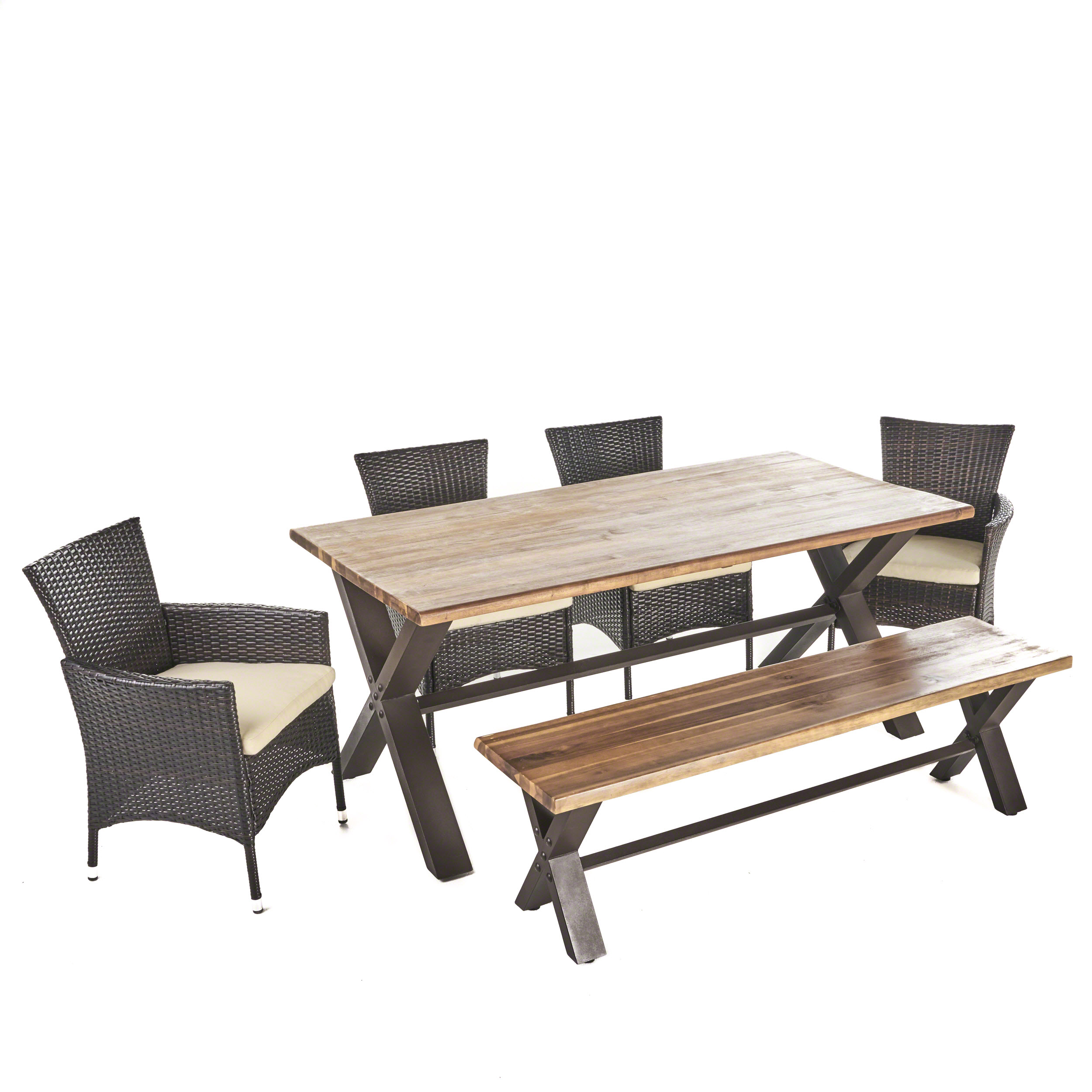 Trellis Outdoor 6 Piece Acacia Wood Dining Set with Wicker Dining Chairs and Water Resistant Cushions, Teak Finish
