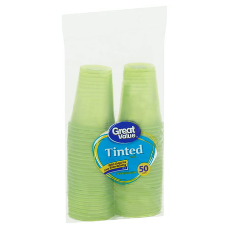 Great Value Tinted Plastic Cups, 18 oz, 50 Count