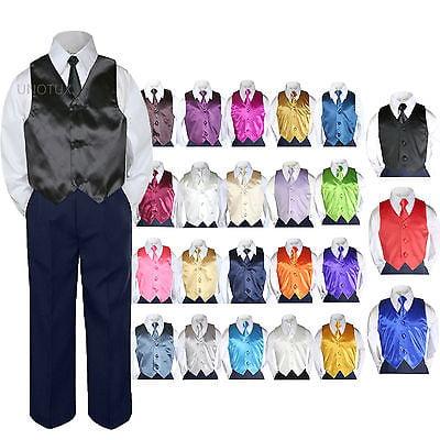 23 Color 4 Pieces Navy Vest set Necktie Boy Baby Toddler Formal Tuxedo Suit S-7 for $<!---->