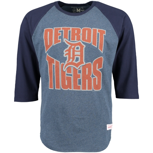Detroit Tigers Mitchell & Ness Team Practice Three-Quarter Length Raglan T-Shirt - Navy