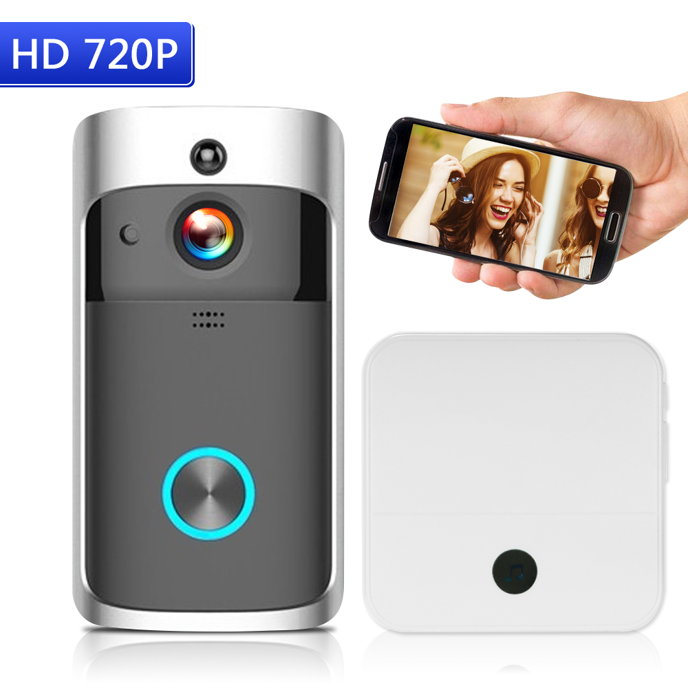 WiFi Smart Wireless Security DoorBell Smart HD 720P Visual Intercom Recording Video Door Phone Remote Home Monitoring Night Vision with 1pcs Doorbell Chime